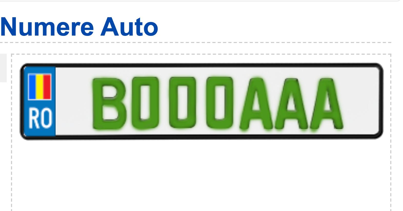 model număr înmatriculare românia verde